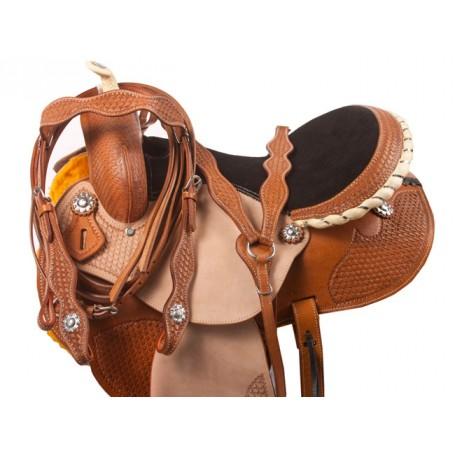 New Tooled Barrel Racing Western Horse Saddle Tack 15