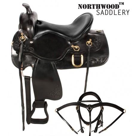 Black Western Leather Trail Horse Saddle 15 16 17