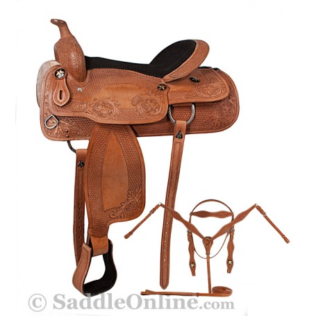 16 Hand Tooled Western Pleasure Horse Saddle Tack