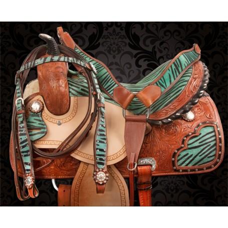 Turquoise Zebra Western Barrel Racing Horse Saddle 14 17