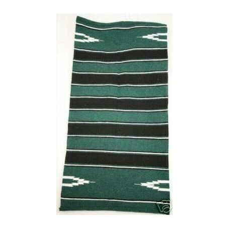 NEW WESTERN GREEN / BLACK COTTON/ACRYLIC  BLANKET