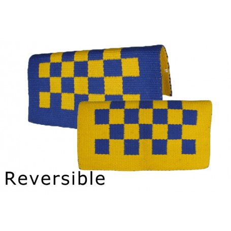 Reversible Blue And Yellow Checkered Premium Show Blanket