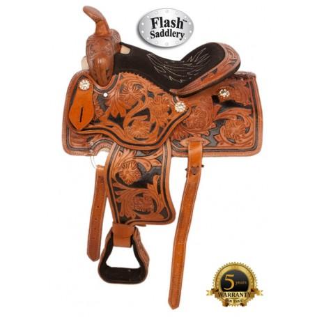 Hand Carved Kids Seat Quarter Horse Saddle 12 13