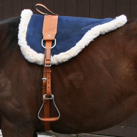 Natural Horsemanship Navy Blue Leather Bareback Pad