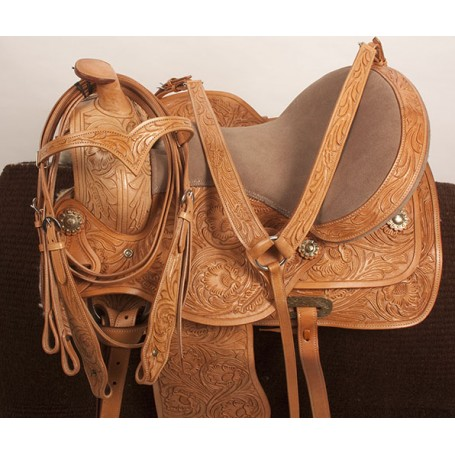 Hand Carved Western Pleasure Trail Horse Saddle 16