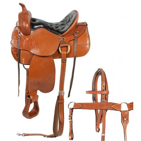 Comfortable Tan Western Endurance Horse Saddle 15 18