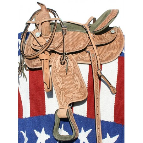 Premium Hand Carved Western Show Saddle Tack 14