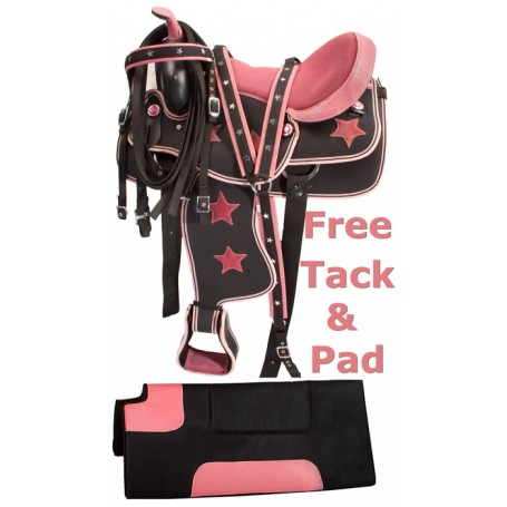 Pink Texas Star Western Synthetic Horse Saddle Tack 14 17
