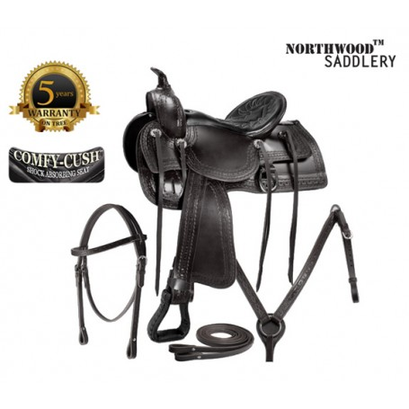 Comfortable Black Old Time Trail Rider Horse Saddle Tack
