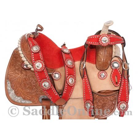 Premium Red Blue Hand Carved Western Barrel Horse Saddle