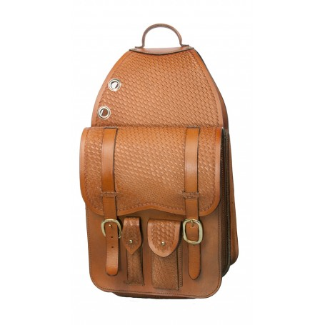 Extra Large All Leather Basket Weave Saddle Bags