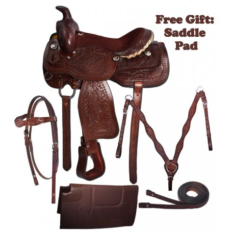 Brown Leather Western Pleasure Trail Saddle Package 16 17