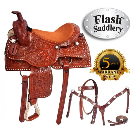 Buck Stitched Pleasure Trail Western Horse Saddle 16 17