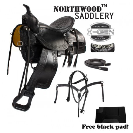 Comfortable Black Old Time Trail Rider Western Horse Saddle