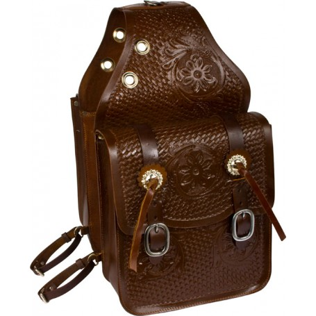 Large All Leather Hand Carved Brown Saddle Bags