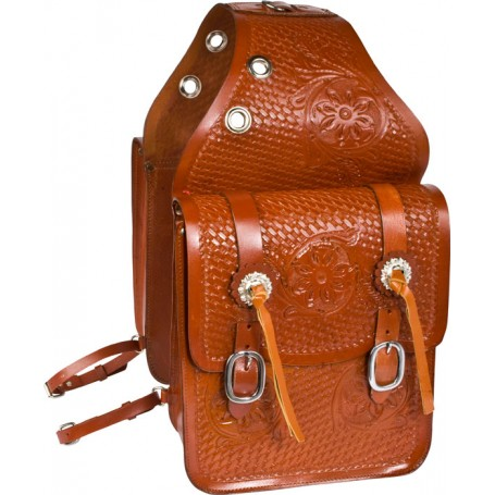 Large All Leather Hand Carved Chestnut Tan Saddle Bags