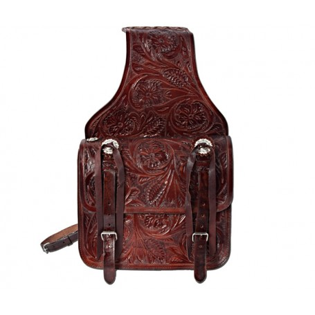 Hand Carved Large Dark Brown Leather Western Saddle Bags
