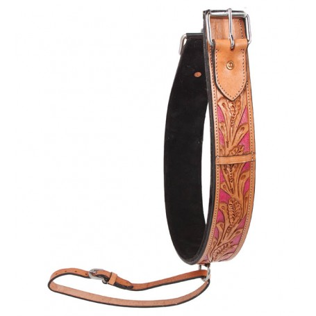 Premium Pink Inlay Thick Hand Tooled Leather Rear Back Cinch