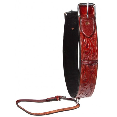 Premium Thick  Hand Tooled Dark Leather Rear Back Cinch