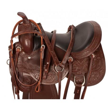 Premium Handtooled Leather Arabian Trail Horse Saddle 16