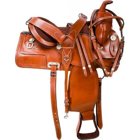 Western Pleasure Hand Tooled Leather Horse Saddle 16 18