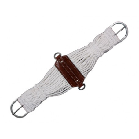 Rope Brown Leather Horse Cinch Girth Stainless Steel 36