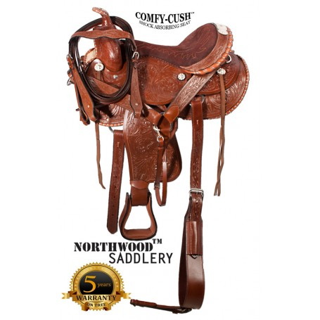 Comfortable Silver Western Barrel Horse Show Saddle 16 17