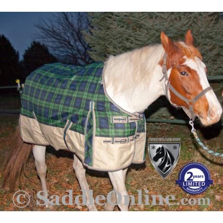 Green Plaid Waterproof Winter Turnout Horse Blanket 1200D