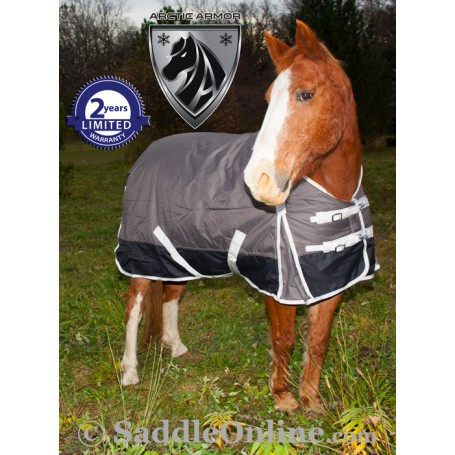Grey 1200D Turnout Waterproof Winter Horse Blanket 70 72