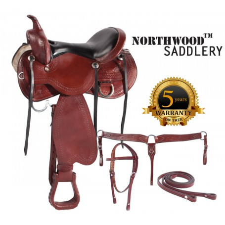 Western Pleasure Trail Seat Horse Leather Saddle 18