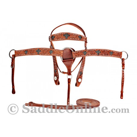 Crystal Cross Western Horse Premium Leather Tack Set SALE
