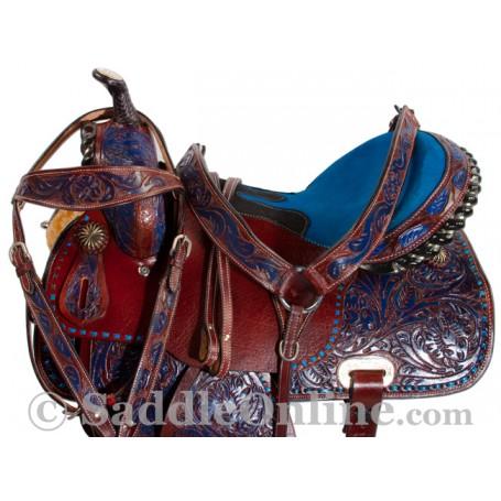 Handmade Brown Leather Blue Barrel Western Horse Saddle