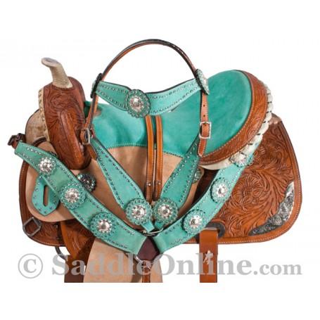 Premium Turquoise Hand Carved Western Barrel Horse Saddle
