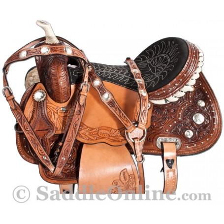 Crystal Hand Tooled Western Leather Horse Barrel Saddle
