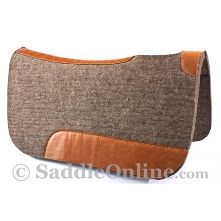 Grey Leather Contour Felt Round Skirt Western Saddle Pad