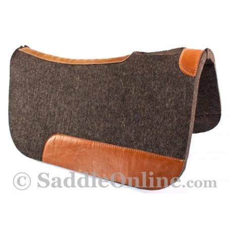 Black Leather Contour Felt Round Skirt Western Saddle Pad