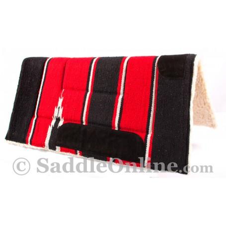 Black Red Navajo Acrylic Fleece Western Horse Saddle Pad 32x32