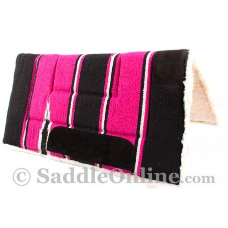 Black Pink Navajo Acrylic Fleece Western Horse Saddle Pad 32x32