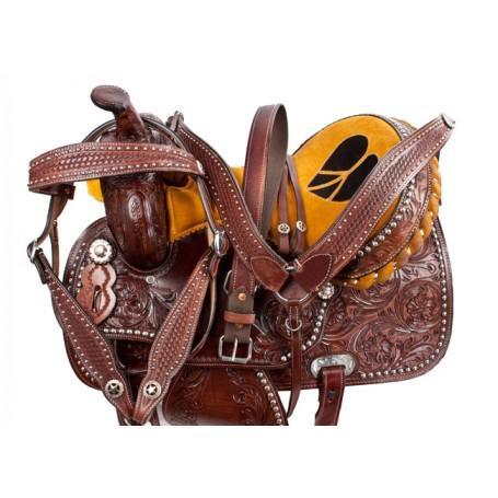 Heart Western Studded Barrel Racing Saddle Horse Tack 16