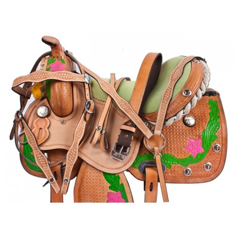 Pink Green Desert Rose Barrel Saddle Hand Painted 15 16