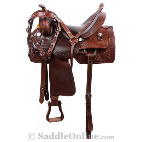 Dark Brown Ranch Work Western Trail Horse Saddle 17