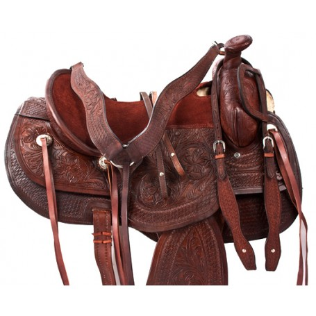 Sale Brown Tooled Comfy Padded Leather Saddle 16 17