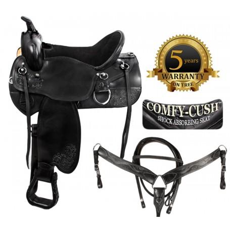 Suede Seat Black Western Leather Endurance Saddle 17 18
