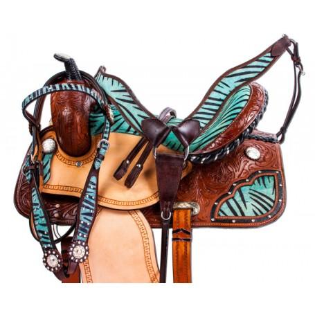 Turquoise Blue Zebra Western Barrel Racing Horse Saddle 14