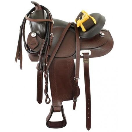 New Brown Western Pleasure Saddle Tack Set Bridle 16
