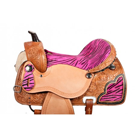 Pink Zebra Barrel Racing Western Horse Saddle 15 16