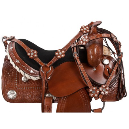 Crystal Tooled Western Barrel Racer Horse Saddle Tack 14 16