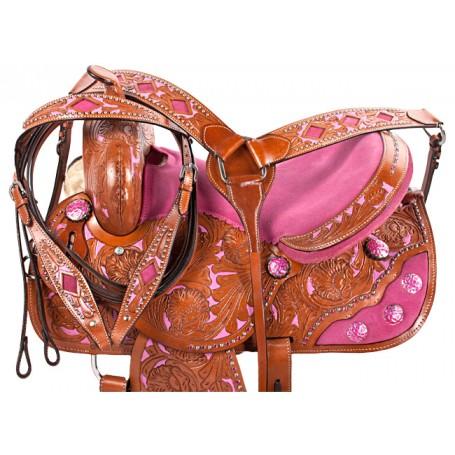 Pink Inlay Barrel Racing Western Horse Saddle Tack 14 16