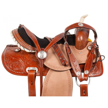 Crystal Hand Tooled Western Barrel Horse Saddle Tack 15