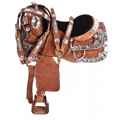 Silver Hand Carved Western Horse Show Saddle Tack 16